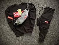 Мужской спортивный костюм тройка Суприм (Supreme) черного цвета с серой бананкой