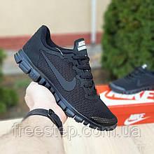 Чоловічі кросівки в стилі Nike Free Run 3.0 чорні зі шнурками