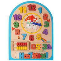 Деревянная игрушка для малышейMD 1050 Развивающие часы