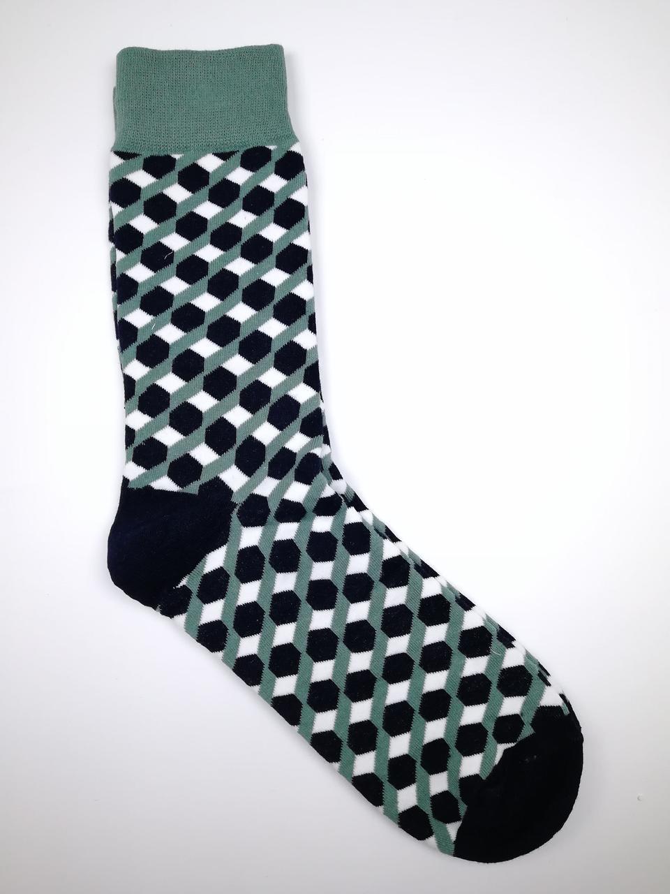 Шкарпетки чоловічі високі з принтом геометрія