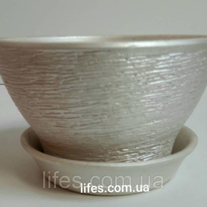 Фиалочница керамическая серебро КС16