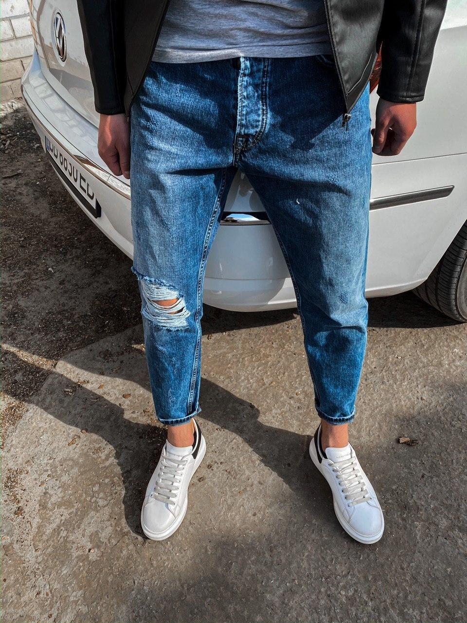 😜 Джинсы - Стильные синие джинсы бойфренды рваные на коленях