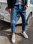 😜 Джинсы - Стильные синие джинсы бойфренды рваные на коленях, фото 3