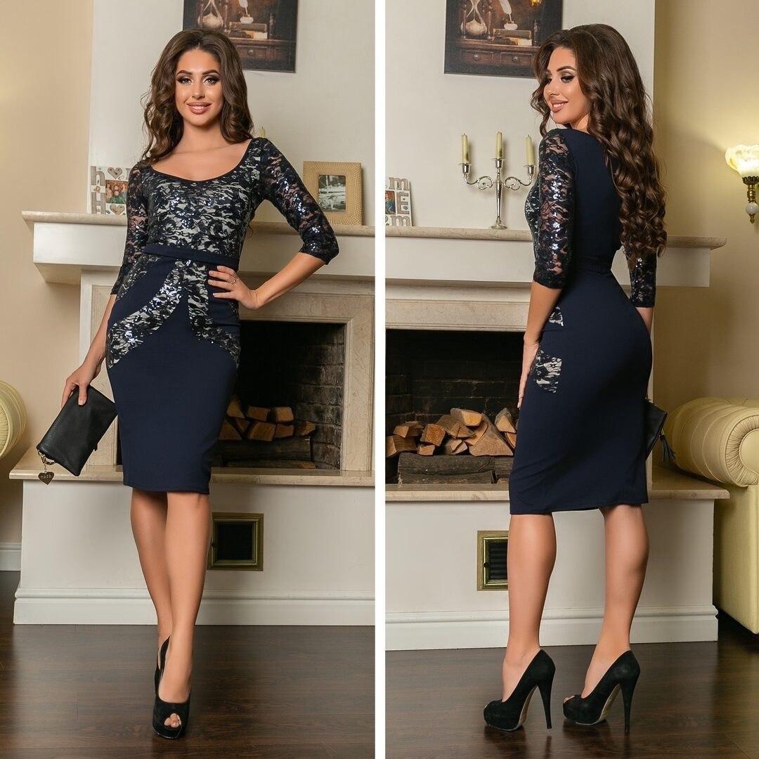 """Роскошное женское платье с узором """"ткань креп-дайвинг + гипюр"""" 48 размер"""
