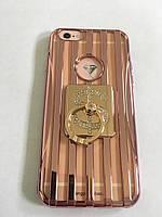 Чохол для iphone 6/6S прозорий силіконовий з смужками під метал, з колечком, зі значком долара COV-034