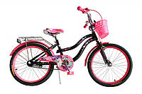 """Велосипед детский для девочек Formula Flower 20"""" черный с розовым"""
