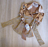 Р. 128-152 Дитяча нарядна блузка золотиста з мереживом, фото 1