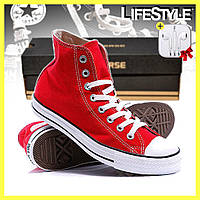 Кеды Converse ALL STAR высокие, красные / Женские, мужские кеды + наушники в Подарок