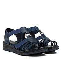 Сандалі жіночі шкіряні сині на платформі,на танкетці,на низькому ходу,на резинці,комфортные обувь