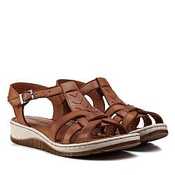 Женские сандали кожаные на танкетке, коричневые,на платформе,на низком ходу