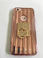 Чехол для iphone 6/6S силиконовый прозрачный с полосками под металл, с колечком, со значком доллара COV-034