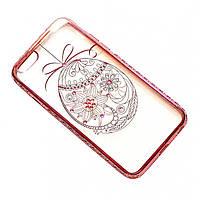 Чехол на iPhone 6/6s силиконовый прозрачный, яйцо с камушками, с бампером под металл COV-037