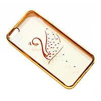 Чехол на iPhone 6/6s силиконовый прозрачный, с лебедем в камушках, с бампером под металл в камушках COV-049