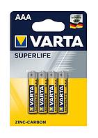 Батарейка солевая Varta SUPERLIFE R6P AАA (тип R03P, мизинчик, 4 штуки в упаковке)