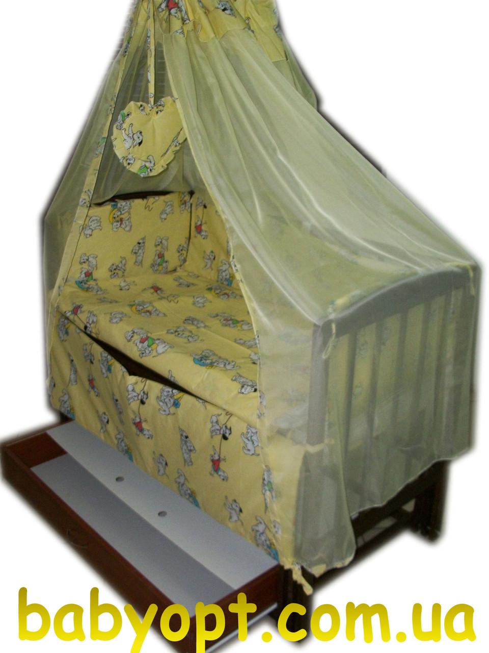 """Постельный комплект в детскую кроватку """"Далматинцы"""" желтый 8 элементов"""