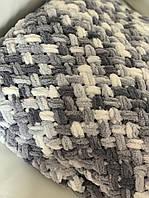 Плед плюшевый Полуторный размер 120*180 см ализе пуффи, ручная вязка