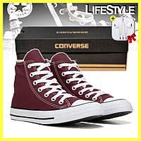 Кеды Converse ALL STAR высокие, бордовые / Женские, мужские кеды + наушники в Подарок