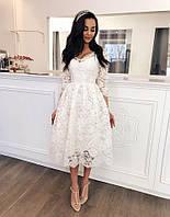 Плаття нежное гепюр женское для девочки красивое нарядное на свадьбу выпуск корпаратив вечеринки