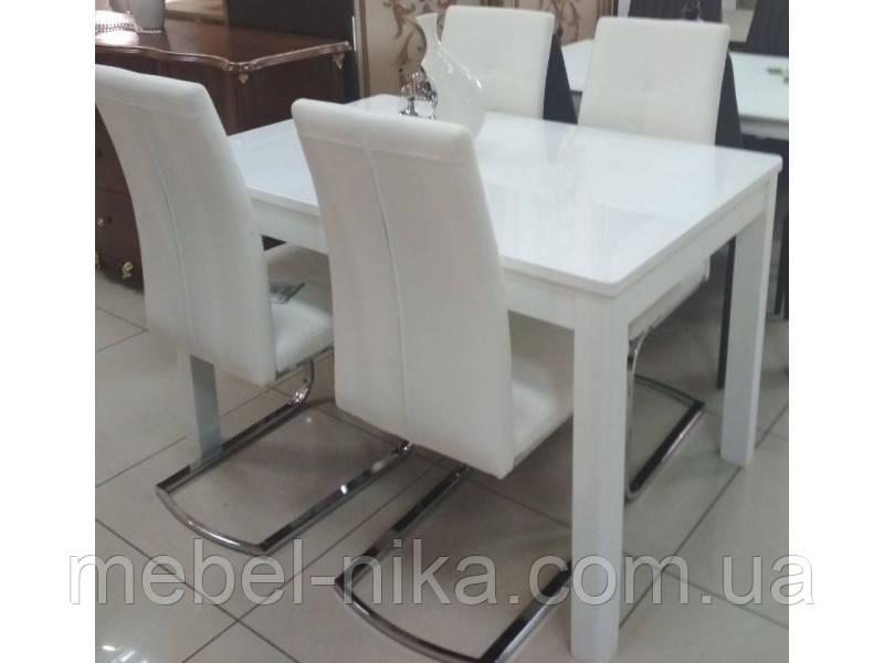 Стол обеденный раскладной Фишер 120(+40)х75х78см белый / стекло белое