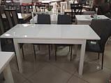 Стол обеденный раскладной Фишер 120(+40)х75х78см белый / стекло белое, фото 2