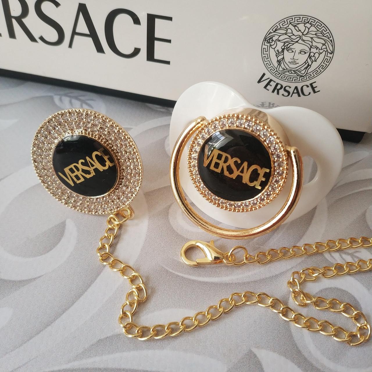 Пустышка, соска со стразами Versace и держатель, комплект