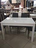 Стол обеденный раскладной Фишер 120(+40)х75х78см белый / стекло белое, фото 3