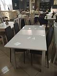 Стол обеденный раскладной Фишер 120(+40)х75х78см белый / стекло белое, фото 4