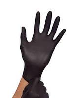 """Перчатки """"S"""" черные (100 шт/50 пар) нитрил. сверхпрочные текстурированные на пальцах Medicom 1187 B"""