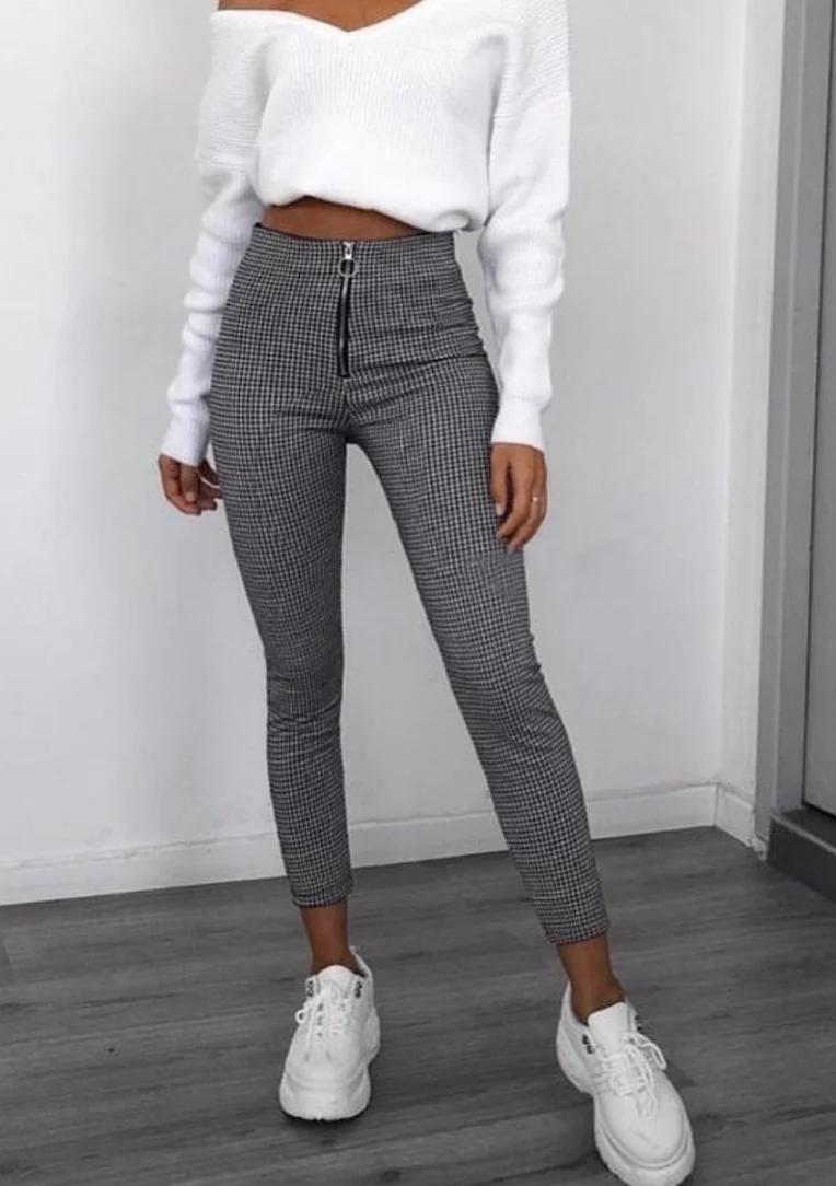 Стильные женские брюки леггинсы в обтяжку в гусную лапку