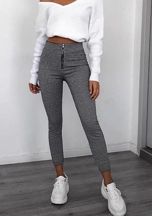 Стильные женские брюки леггинсы в обтяжку в гусную лапку, фото 2