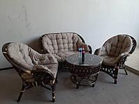 Комплект мебели Copacabana set Софа 2 кресла кофейный стол со стеклом цвет ротанга кофейно-коричневый
