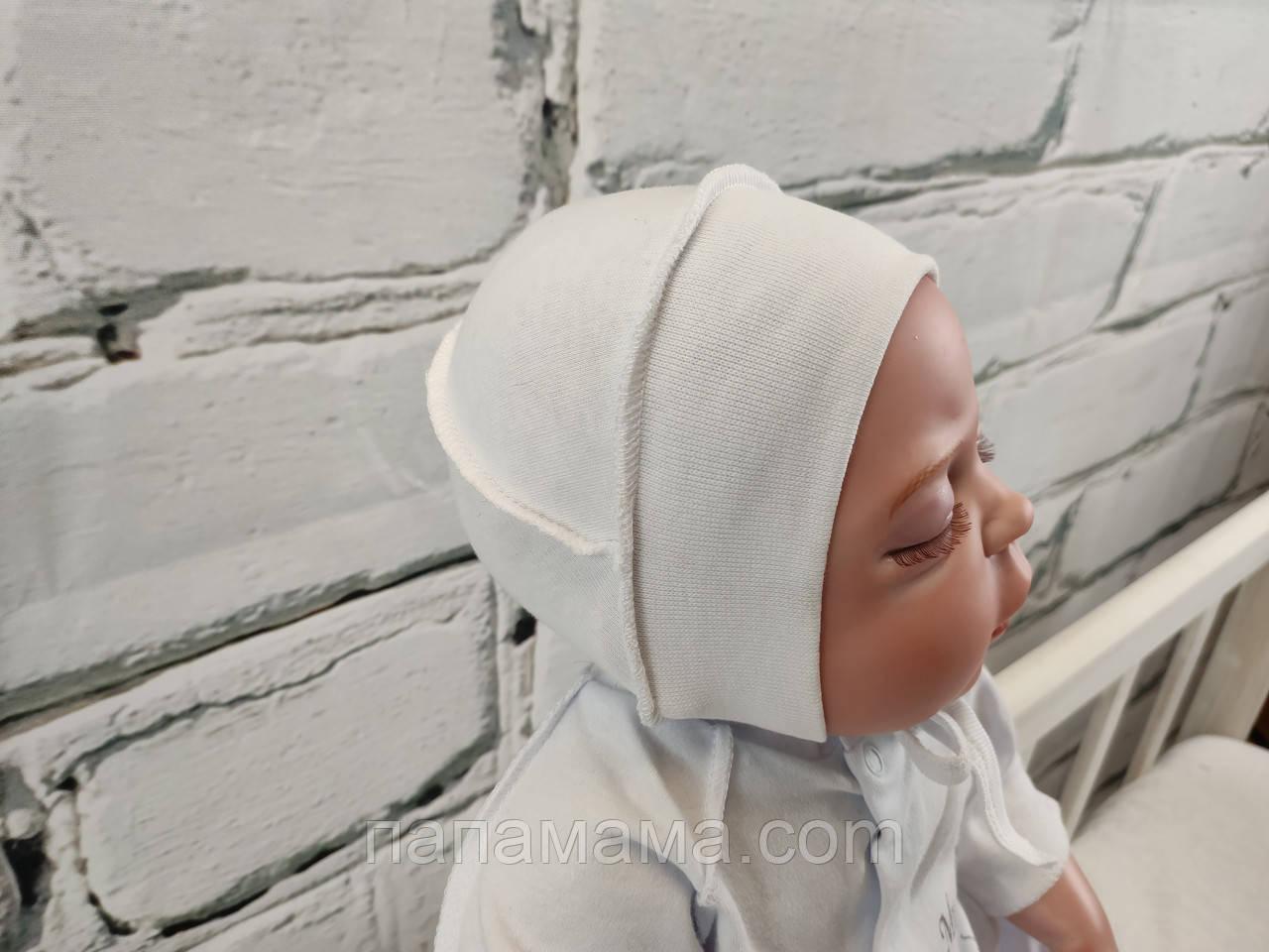 Чепчик интерлок для новорожденных, молочный