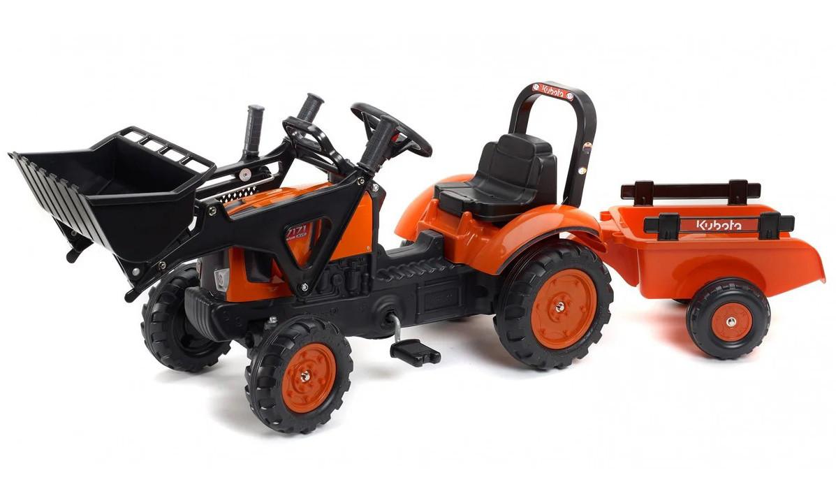 Детский педальный трактор с прицепом и ковшом Falk 2065AM Kubota для детей