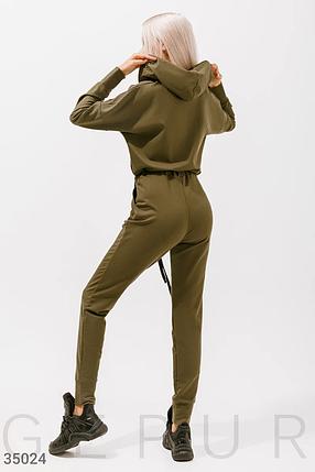 Женский спортивный комбинезон с капюшоном хаки, фото 2