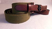 Ремінь рушничний брезентовий, з коричневими ремінцями (стрічка ЛРТ) 110 см, фото 1