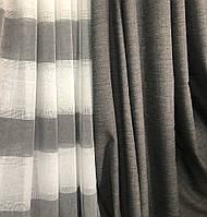Современный льняной тюль c декоративными серыми полосками по низу и шторой в комплекте, пошив