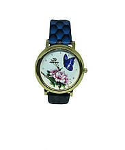 "Часы женские кварцевые ""Бабочка и цветок 6780""  Синий"