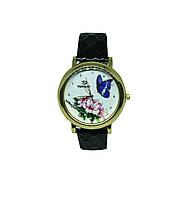 """Часы женские кварцевые """"Бабочка и цветок 9211""""  Черный"""