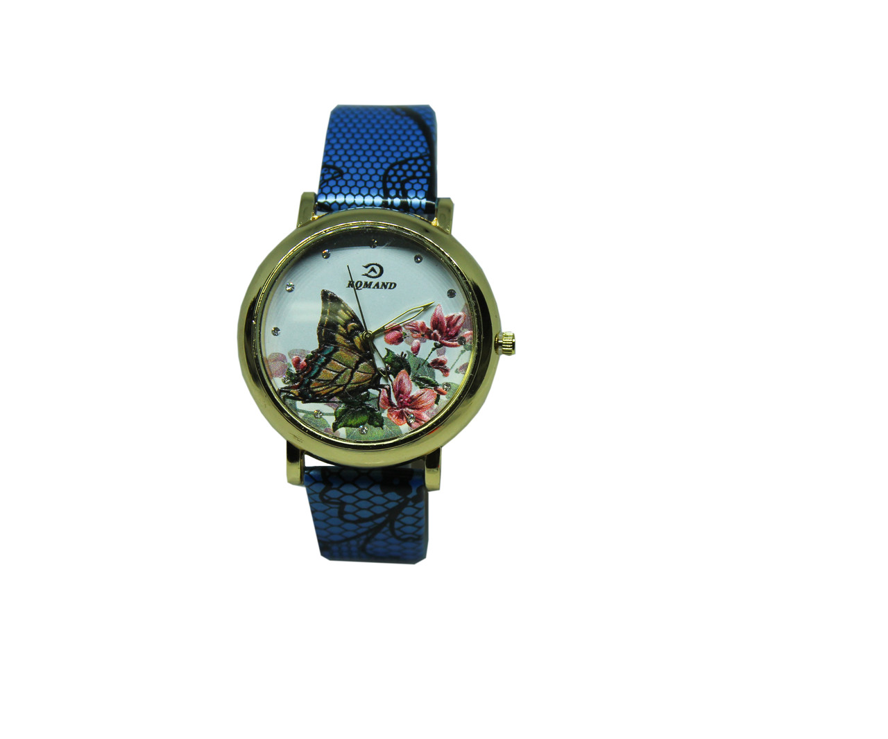 """Часы женские кварцевые """"Цветная бабочка""""  Голубой"""