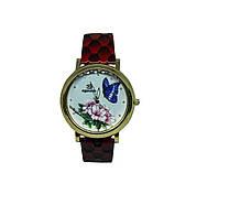 """Часы женские кварцевые """"Бабочка и цветок 6782""""  Красный"""