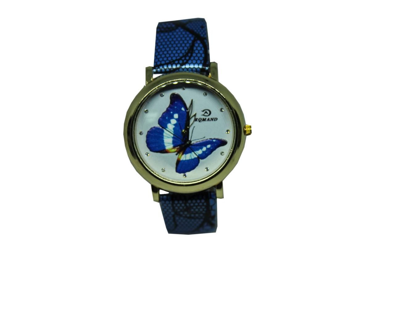 "Часы женские кварцевые ""Синяя бабочка""  Голубой"