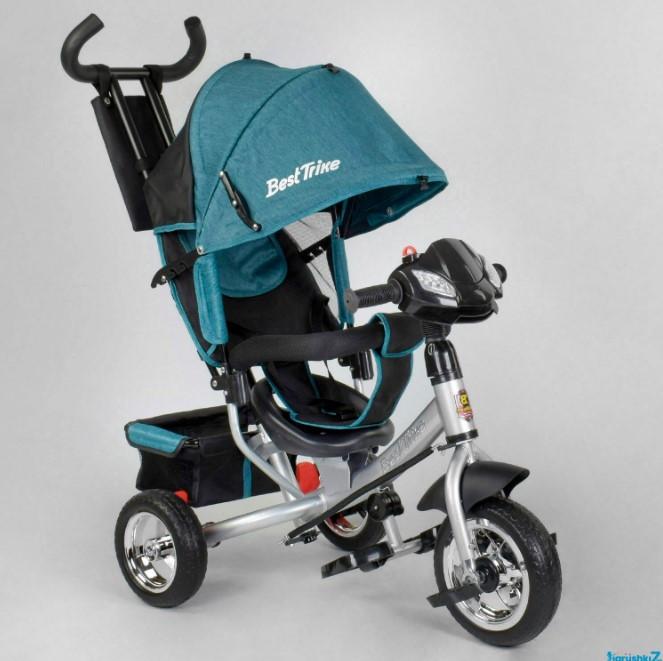 Детский трехколесный велосипед с ручкой козырьком фарой колеса пена Best Trike 6588-20-203
