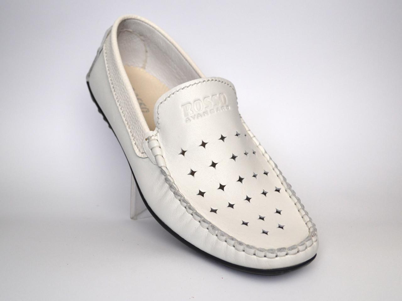Білі мокасини літні шкіряні перфоровані стильні взуття великих розмірів Rosso Avangard Bianco M4
