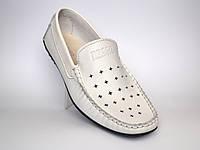 Білі мокасини літні шкіряні перфоровані стильні взуття великих розмірів Rosso Avangard Bianco M4, фото 1
