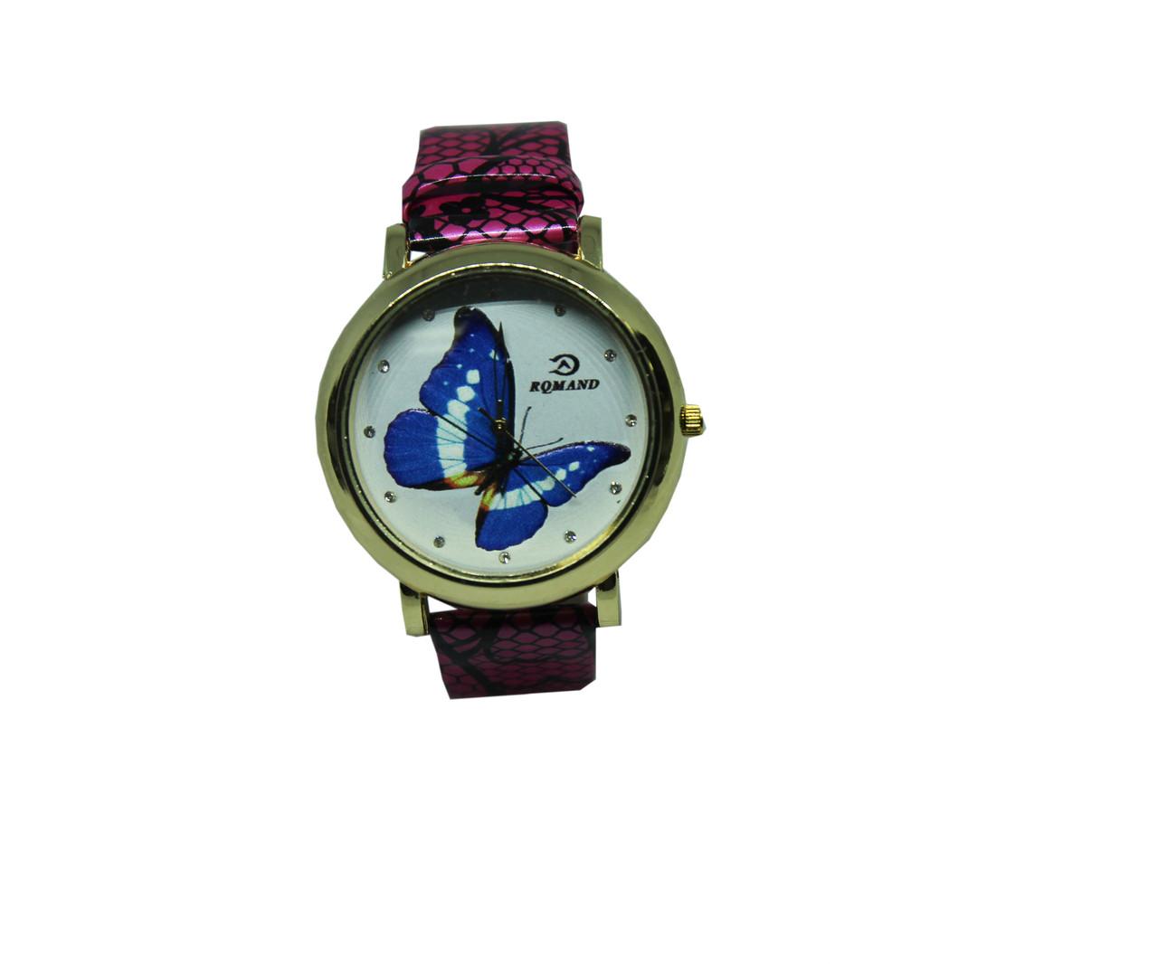 """Часы женские кварцевые """"Синяя бабочка"""" Малиновый"""