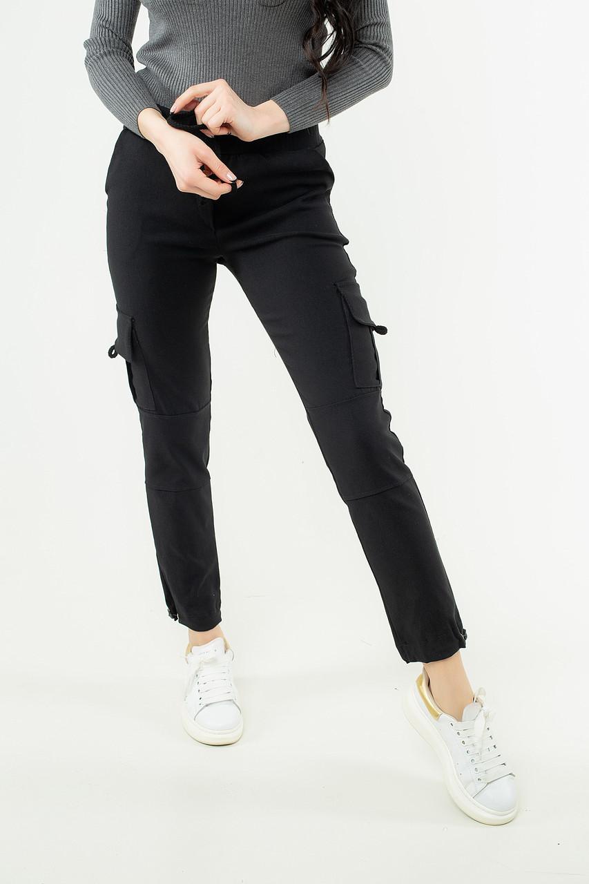 Штаны женские стрейч катон с карманами