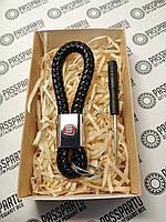 Брелок кожаный плетеный черный + карабин для ключей с маркой Fiat в подарочной коробочке купить в Украине