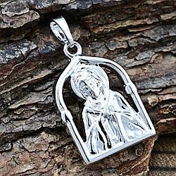 Иконка Xuping Богородица для цепочки до 3 мм 71192 размер 28х16 мм вес 4.4 г позолота Белое золото