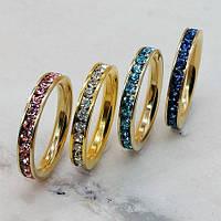 Кольцо из ювелирной стали женское с фианитами разных цветов 3 мм 175435