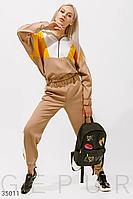 Стильный повседневный женский спортивный костюм бежево-желтый